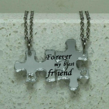 Friendship puzzle pendants set of 2 linking necklaces Forever my best friend Mirror acrylic