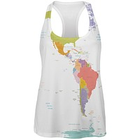 World Traveler Global Map All Over Womens Racerback Tank Top