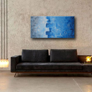 Original Abstract Textured Acrylic Painting Blue Sky on Canvas 40x20 inches Wall Decor