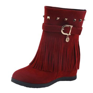 Platform Wedge Heel Tassel Fashion Casual Boots