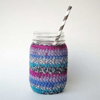 Multicolor Teal and Purple Mason Jar Cozy Pint Sized Jar Sleeve Crochet Jar Cover in Teal and Purple