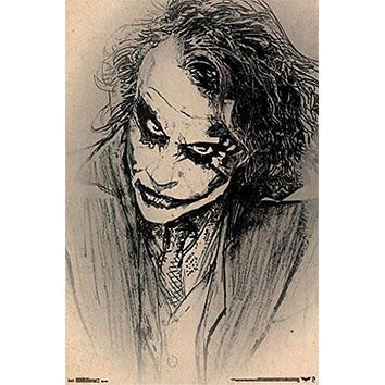 BATMAN DARK KNIGHT JOKER POSTER Amazing Sketch - Heath Ledger RARE HOT NEW 22x34