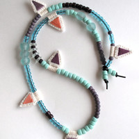 Long beaded necklace with hand embroidered pendants mint green, blues, lavender and plum colors asymmetrical design Spring fashion