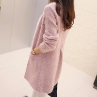 Women free shipping 2016 new Korean version of Women long sections mohair wool with pocket cardigan sweater