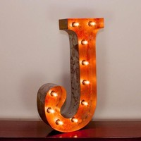 "24"" Letter J Lighted Vintage Marquee Letters with Screw-on Sockets"