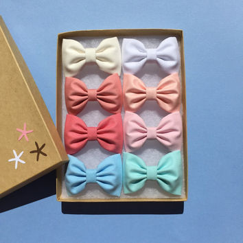 Pastel Seaside Sparrow hair bow set of eight.  hair bow set Hair bow gift hair clip girl gift for her hair accessory girl bow pastel bows