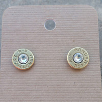 CRYSTAL clear Swarovski Bullet Earrings for the Country Firearms Gun Girl. Many Caliber Options.