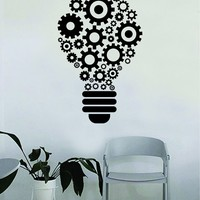 Lightbulb Gears Quote Decal Sticker Wall Vinyl Art Home Room Decor Teacher School Classroom Science Work Office Job Smart Idea Mechanical Steampunk