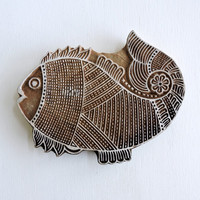 Huge Fish Stamp: Wooden Fish, Hand Carved Wood Stamp, Fish Plaque, Large Handmade Indian Printing Block, India Ceramic Tile Pottery Stamp