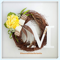 Personalized Wreath  Yellow Hydrangea Grapevine Wreath  Spring Wreath Mother's Day Gift Summer Wreath  Easter Wreath