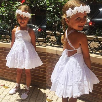 USA Summer Toddler Baby Kids Girls White Lace Pageant Party Dress Dresses 1-5T