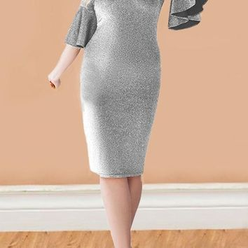 Silver Bright Wire Flare Sleeve Sparkly Plus Size Bodycon Elegant Party Midi Dress