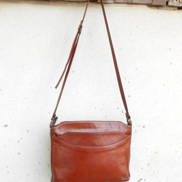 Vintage Brown PRADOR PARIS Leather Bag , Leather Purse , Crossbody Bag / Small - Medium