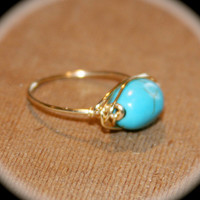 Oblong Turquoise Wire Wrapped Ring - Turquoise Ring -  Ring -  knuckle Stacking Ring - Turquoise Wire Ring - Stone Ring