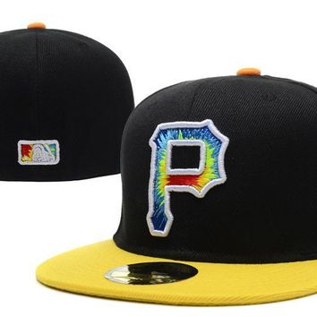 ESBON Pittsburgh Pirates New Era 59FIFTY MLB Hat Black-Yellow