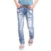 My Associates Store - Doublju Mens Casual Straight Distressed jeans