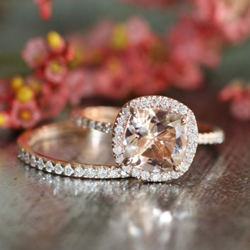 14k Rose Gold Wedding Set Morganite Engagement Ring and Half Eternity Diamond Wedding Band 8x8mm Cushion Cut Pink Peach Morganite Ring