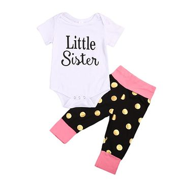 Newborn Baby Girl Little Big Sister Romper T-shirt Tops Pants  new arrival fashion Outfit Kid Clothes set