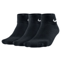 Nike Cotton Cushion Quarter Training Socks (3 Pair) Size Medium (Black)
