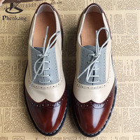 Genuine Leather Big Woman Size 11 Designer Vintage Flat Shoes Round Toe Handmade White Creepers Oxford Shoes For Women Fur