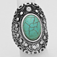 Cabochon Turquoise Silver Burnished Ring