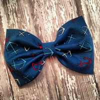 Anchor nautical fabric hair bow rockabilly preppy by SplendidBee