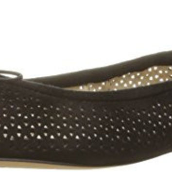 SAM EDELMAN WOMENS FELICIA 2 BALLET FLAT, BLACK PERFORATED SUEDE, 10 M US