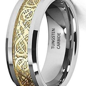CERTIFIED  8mm Celtic Design Dragon Yellow Inlay Tungsten Wedding Band