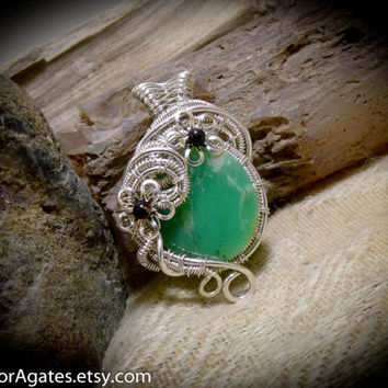 Chrysoprase Gemstone Silver Wire Wrapped Pendant Mint Green