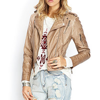 FOREVER 21 Textured Faux Leather Jacket Beige