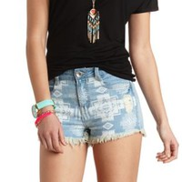 Dollhouse Distressed Tribal Denim Shorts - Med Wash Denim