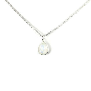 Sterling Silver Rainbow Moonstone Petite Pear Teardrop 7x10mm Pendant Necklace