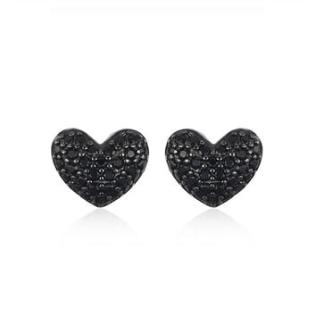 JewelryPalace Stud Earrings Jewelry Fashion 0.29ct Natural Black Spinel Love Heart Earrings For Women Solid 925 Sterling Silver