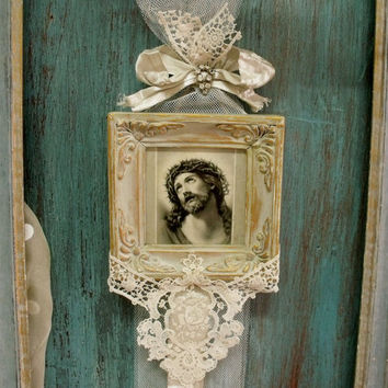 Vintage Christ lace rhinestones wall decor French shabby chic altered Jesus picture frame kitsch religious
