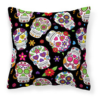 Day of the Dead Black Fabric Decorative Pillow BB5116PW1818