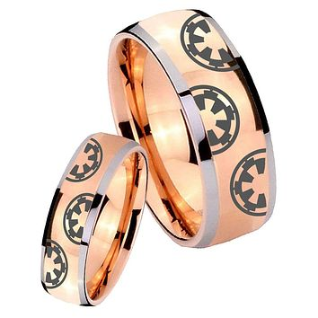 His Hers Rose Gold Dome Star Wars & Galactic Empire Two Tone Tungsten Wedding Rings Set