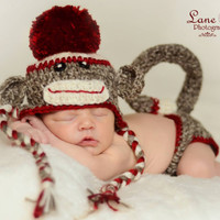 Sock Monkey Hat & Diaper Cover set Traditional Sock Monkey Set Crochet newborn or 0-3 month sizes available Baby photo prop