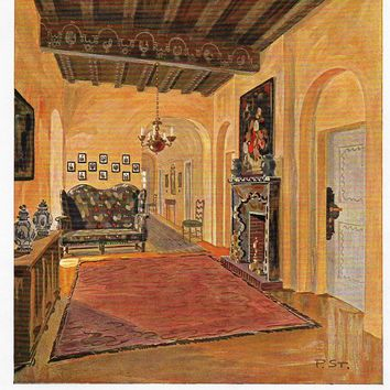"Color Scheme Print - 1923 - ""BERLIN SKETCH OF ENTRANCE HALL"" - Decorative Lithograph"