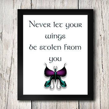 Maleficent, Never let Your Wings be Stolen from You, Black and Purple, Disney,  Art Printable, 8X10 Print Wall Art, Decor, INSTANT DOWNLOAD