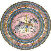 Joy Carpets 1473E-02 Carousel© Round: 7 Ft. 7 In. Round Rug Kid Essentials - Infants & Toddlers Rug - (In Round)