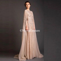 Arabia Evening Gowns Shiny Beading Crystal Long Evening Dresses O-neck A-line Floor Length Vintage Formal Dress W111