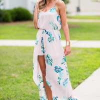 Fun Fronds Maxi Romper, Blush-Green