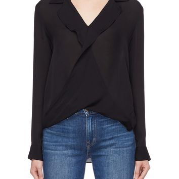 L'Agence | 'Rita' drape overlapped front silk blouse | Women | Lane Crawford - Shop Designer Brands Online