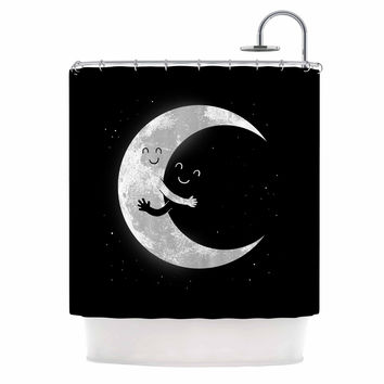 "Digital Carbine ""Moon Hug"" Black White Shower Curtain"
