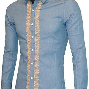 Turn-down Collar Long Sleeve Embroidered Casual Shirt