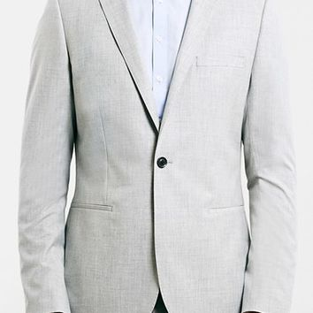 Men's Topman Light Grey Skinny Fit One-Button Suit Jacket