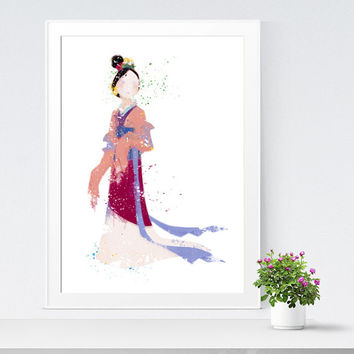 Mulan Disney Princess. Watercolor Mulan Art. Poster Disney Mulan. Nursery Decor. Print for baby girls bedroom. Disney Watercolor Art