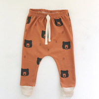 baby leggings // Organic baby leggings in rust bear print // baby joggers //  drop crotch pants // toddler leggings // harem pants