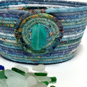 Beach Glass Basket - Coiled Rope Clothesline Bowl - OOAK Handmade Organizer - Aqua Blue Fiber Art Decor - Scrappy Quilted Textile Art