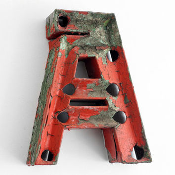 """Industrial Metal Letter """"A"""" / Reclaimed Socialist Signage Advertising / Salvaged Volumetric Letter / Romania - 60s"""